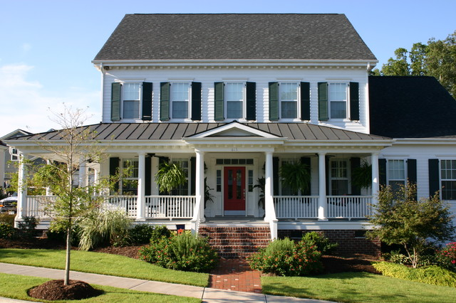 Owens Corning Roof Shingles Exterior Traditional with Brick Deep Porch Gable Roof Grass Lap Siding Lawn
