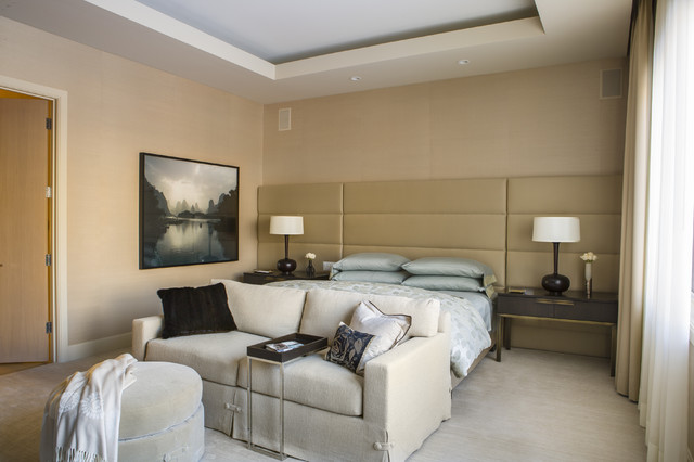 Padded Headboard Bedroom Contemporary with Beige Grasscloth Beige Ottoman Beige Padded Headboard Beige Sofa