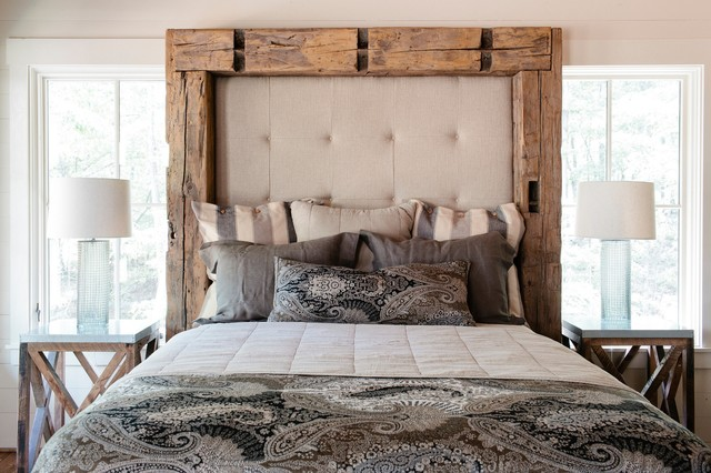 Padded Headboard Bedroom Rustic with Glass Lamp Base Natural Lighting Neutral Colors Padded Headboard