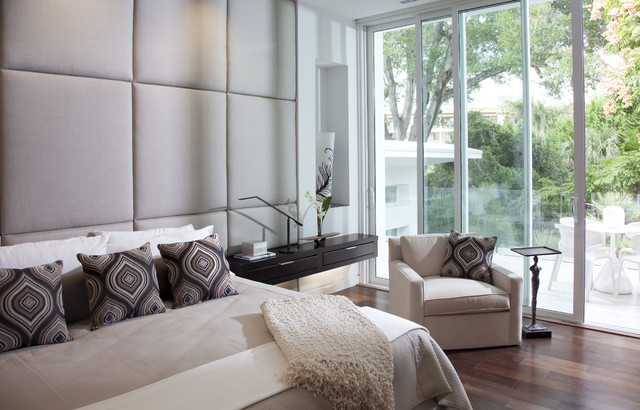 Padded Headboard Living Room Contemporary with Balcony Beige Side Table Figurine Side Table Floating Nightstand
