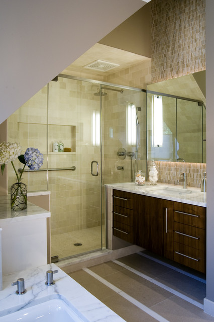 Panasonic Exhaust Fans Bathroom Contemporary with Bathroom Hardware Canister Set Floating Vanity Hydrangeas Marble Countertops