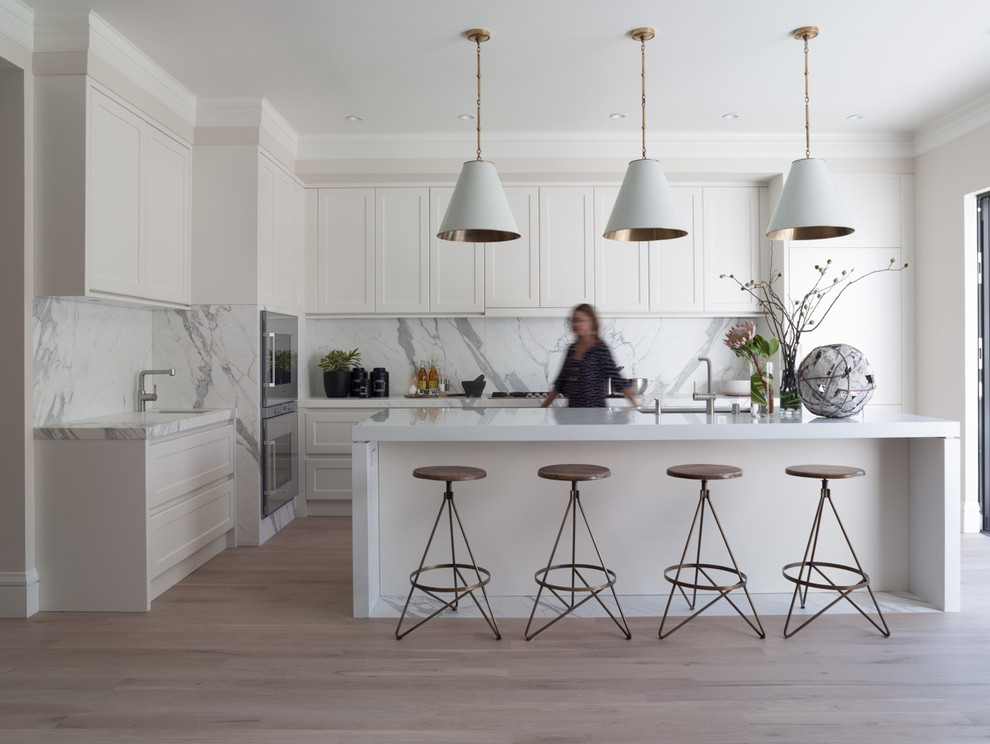 Panel Ready Dishwasher Kitchen Contemporary with All White Kitchen Conical Pendant Lights Crown
