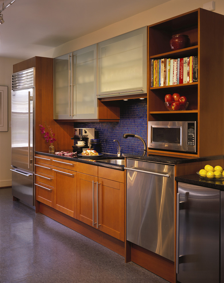 Panel Ready Dishwasher Kitchen Modern with Blue Tile Frosted Glass Doors Mosaic Tile