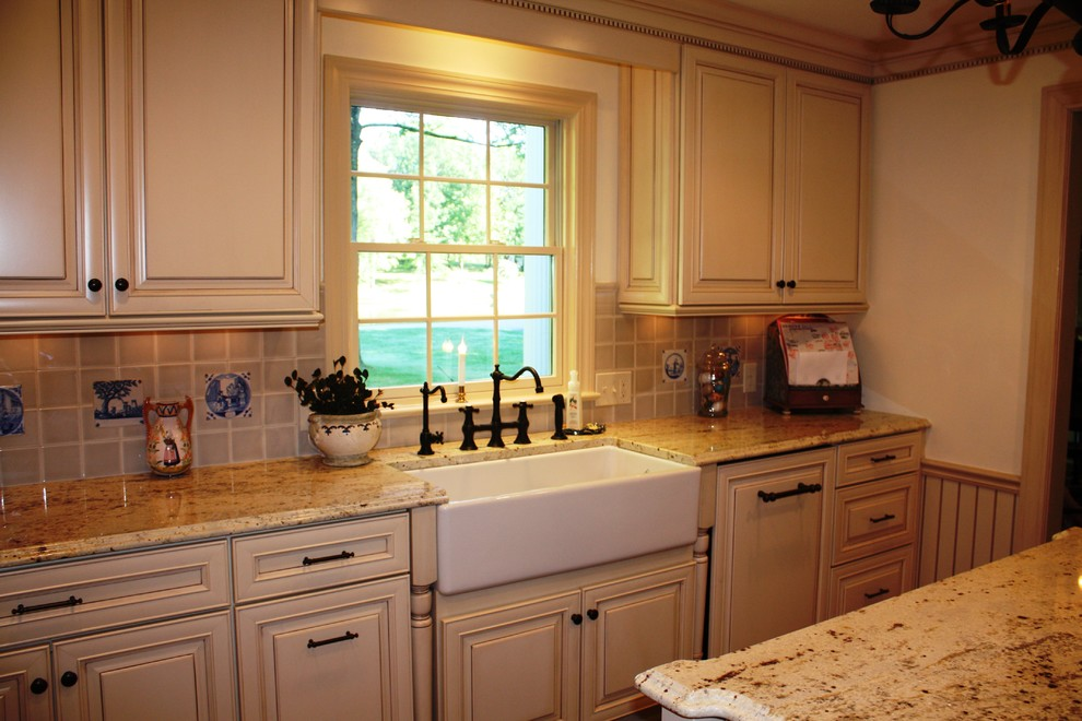 Panel Ready Dishwasher Kitchen Traditional with Bridge Faucet Dentil Farm Sink Glass Cabinet