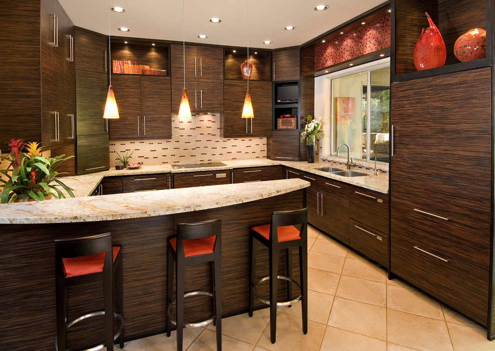 Panel Ready Refrigerator Kitchen Contemporary with Dark Stained Wood Flush Cabinets Kitchen Island