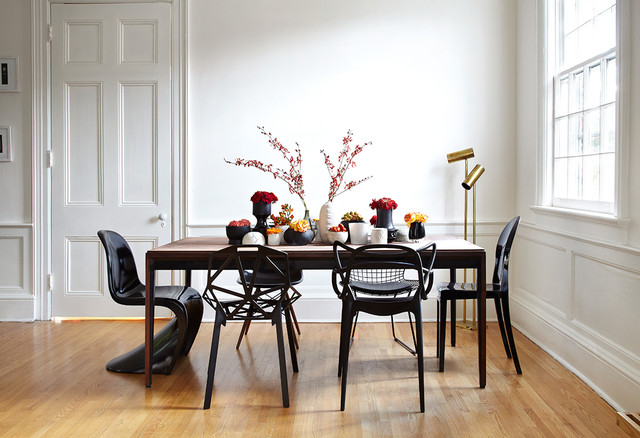 panton chair dining room contemporary with black dining chairs centerpiece dining table floor lamp vases - Dining Table Floor Lamp