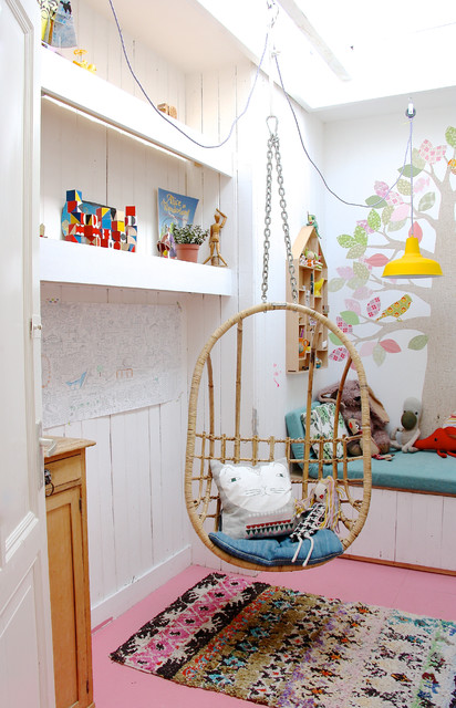 Papasan Chairs Kids Scandinavian With Artwork Bench Seat Built In Shelves  Hanging Chair Pink Painted