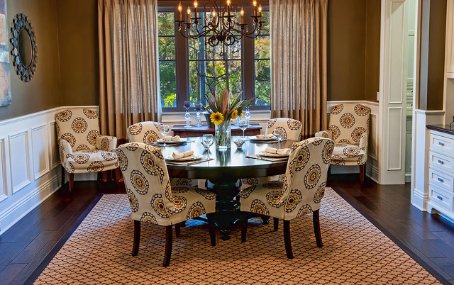 Parsons Chair Slipcovers Dining Room Traditional with Brown Walls Chandelier Large Area Rug Parsons Chair Round