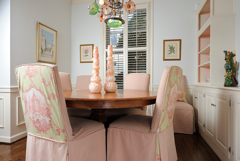 Parsons Chairs Dining Room Eclectic with Artwork Built in Cabinets Chair Rail Dining Table