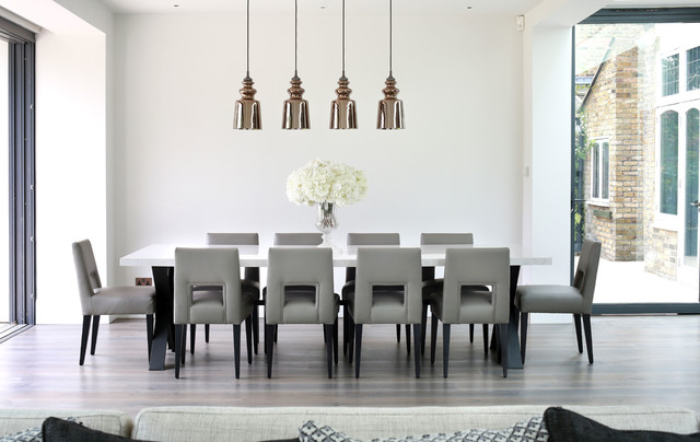 parsons dining chairs Dining Room Contemporary with dining room pendants dining table centrepieces grey dining chair