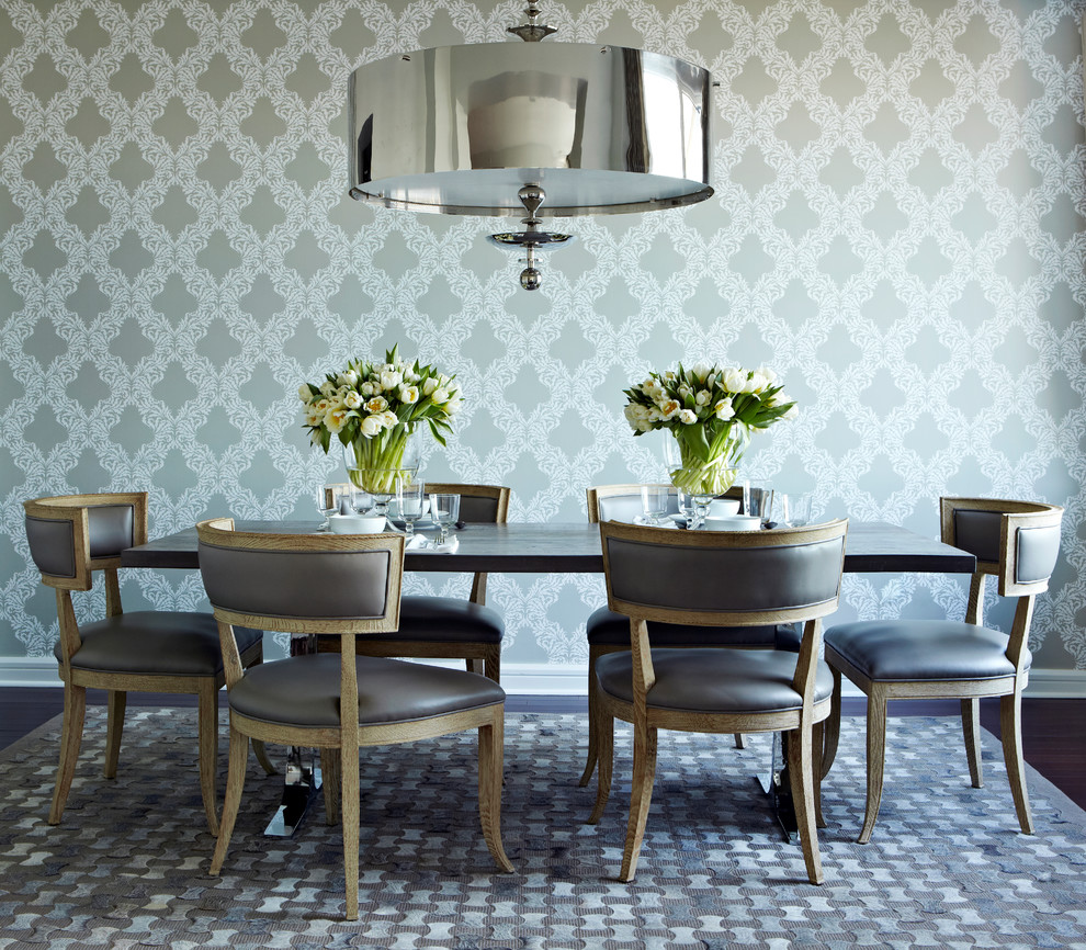 patchwork chair Dining Room Contemporary with 39 nickel finish steel drum chandelier gray