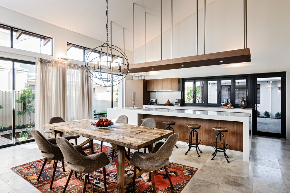 Patchwork Chair Dining Room Contemporary with Accordion Windows Black Windows Chandelier Counter Stools
