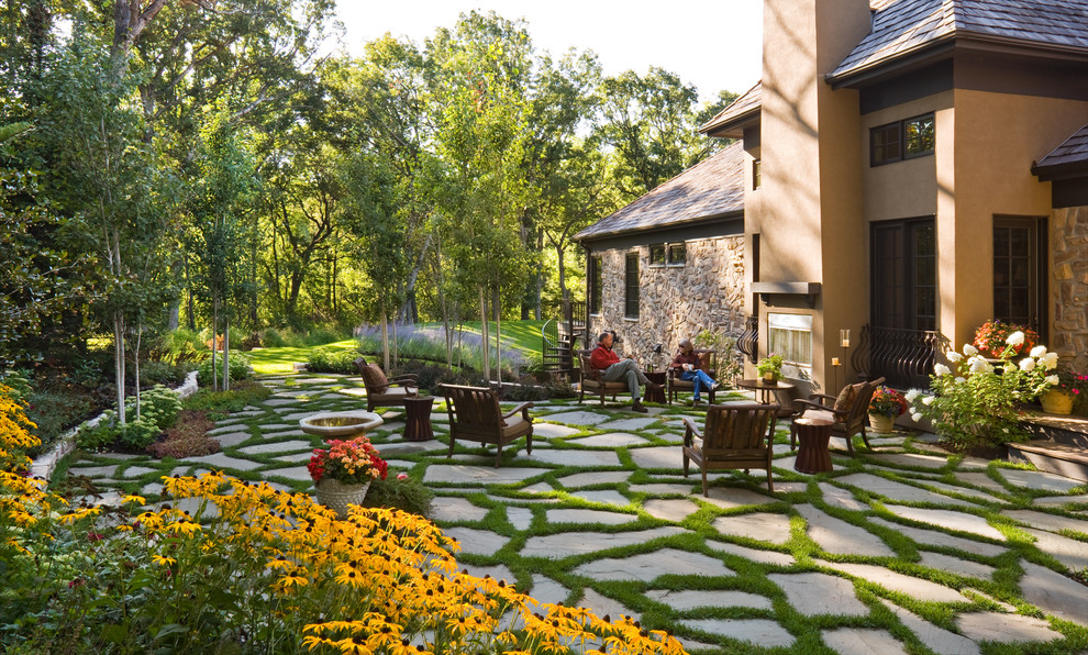 Patio Paver Ideas Landscape Traditional with Container Plants Grass Lawn Mass Plantings Outdoor