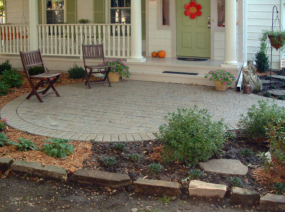 patio paver ideas Porch Traditional with bark mulch columns covered entry gray painted