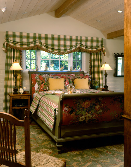 Paula Deen Bedroom Furniture Bedroom Traditional with Colorful Green Plaid Curtains Green Sleigh Bed Yellow Pillows