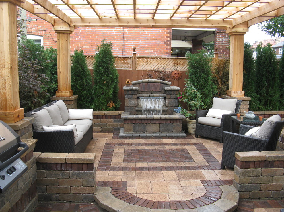 Paver Designs Patio Contemporary with Outdoor Cushions Patio Furniture Pergola Stone Wall