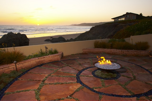 Paver Patio Cost Landscape Beach with Beach Coast Fire Pit Flagstone Grass Groundcover Ocean Outdoor
