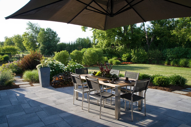 Paver Patio Cost Patio Traditional with Beige Outdoor Umbrella Blue Stone Blue Stone Patio Bushes