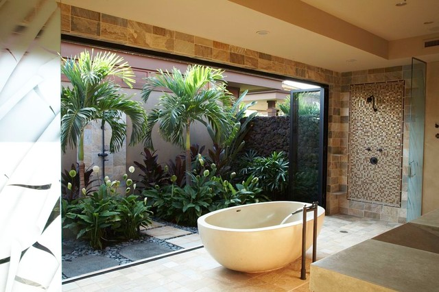 Peace Lilies Bathroom Tropical with Contemporary Bath Etched Glass Partitions Freestanding Bathtub Freestanding Tub