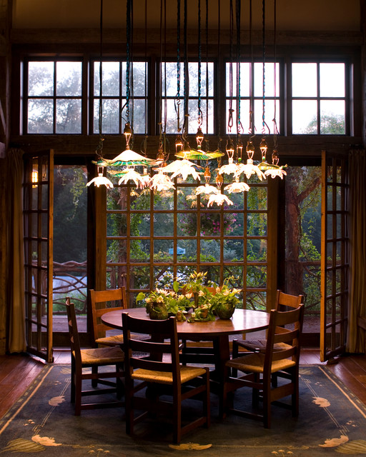 Peace Lilies Dining Room Rustic with Antique Logs Artistic Cabin Country Home Dutchess County Elegant