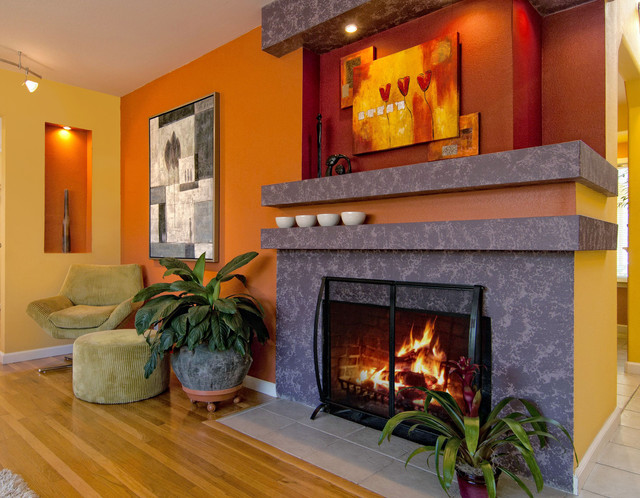 Peace Lilies Living Room Contemporary with Bold Color Bright Color Fireplace Ochre Yellow