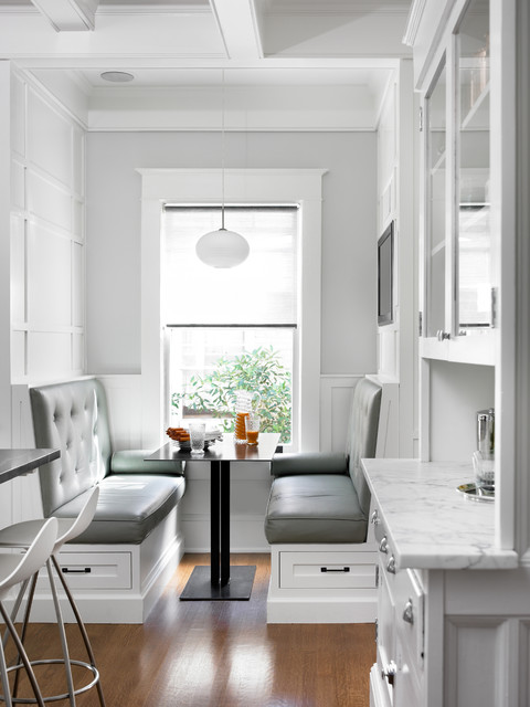 Peachtree Windows Kitchen Transitional with Banquette Banquette Seating Built in Banquette Coffered Ceiling Craftsman Gray