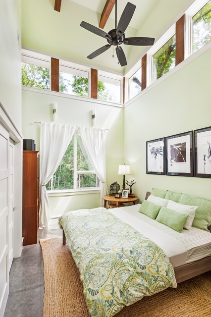 Peacock Alley Bedroom Contemporary with Ceiling Fan Clerestory Windows Concrete Floor Curtain Panels Light