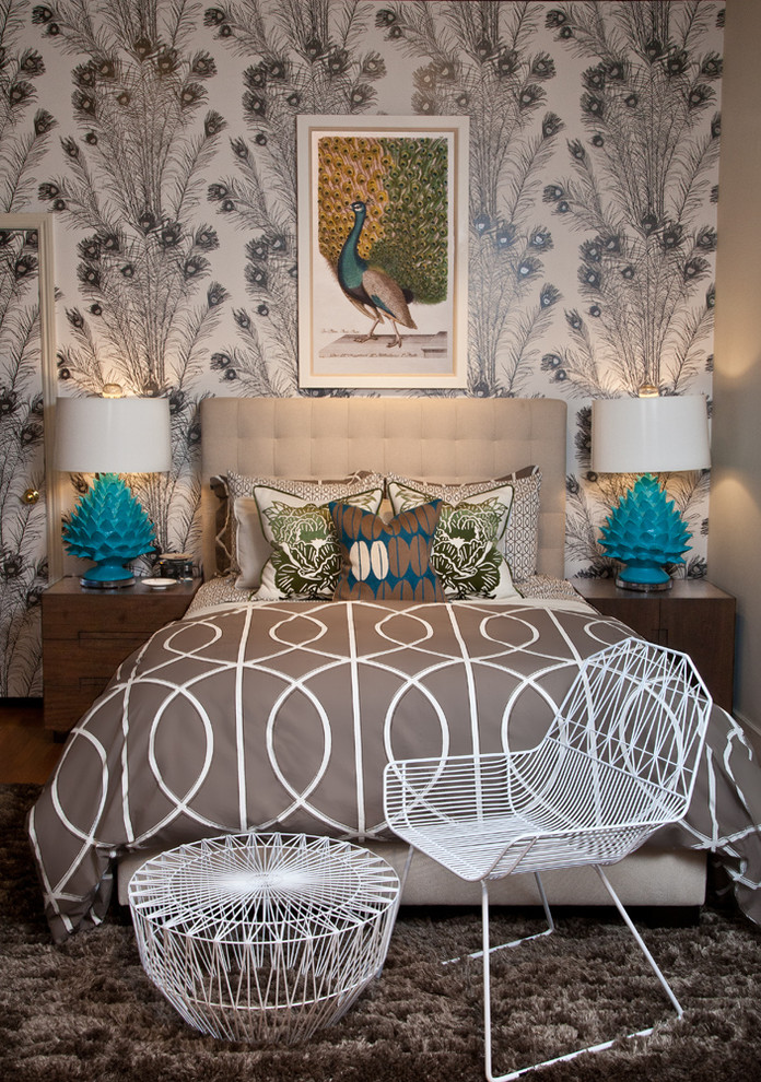 Peacock Rug Bedroom Contemporary with Aqua Accent Bed Bedding Dwell Studio Feminine