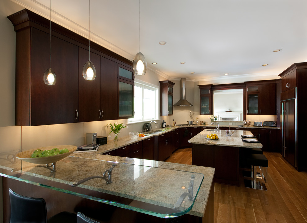 Peel and Stick Tile Backsplash Kitchen Contemporary with Ceiling Lighting Crown Molding Dark Wood Cabinets