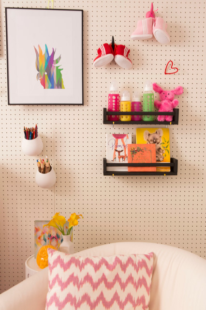 Pegboard Baskets Spaces Contemporary with Art Baby Gallery Wall Girl Kids Nursery Pegboard Playroom