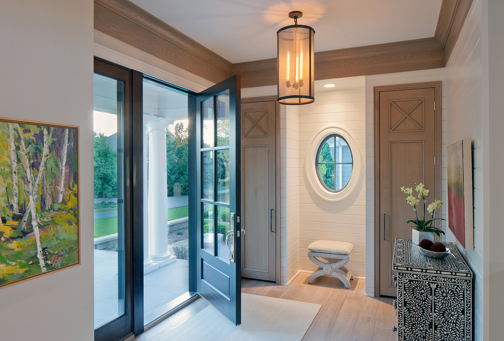 Pella Doors Entry Transitional with Artwork Covered Entry Crown Molding Entry Hall