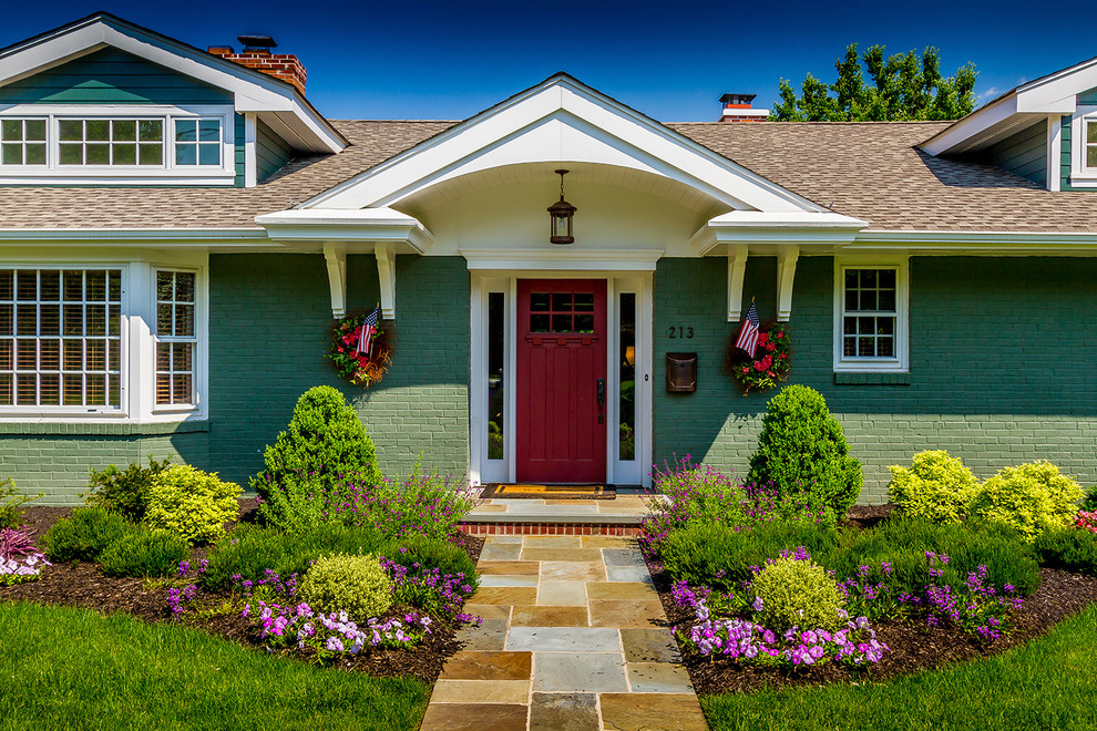 Pella Doors Exterior Traditional with American Flags Bark Mulch Berm Corbels Covered