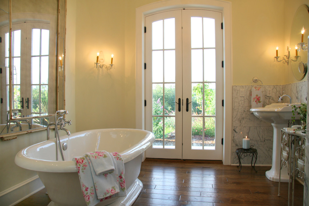 pella french doors Bathroom Traditional with baseboards floral towels freestanding bathtub french doors