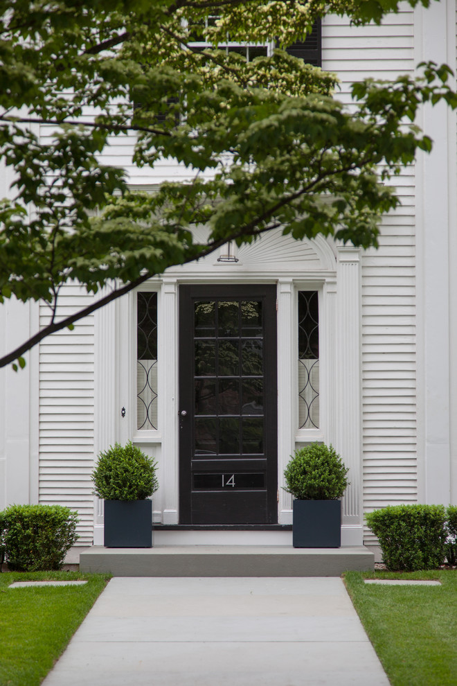 Pella Storm Doors Entry Traditional with Arch Black Shutters Blue Square Pots Boxwood