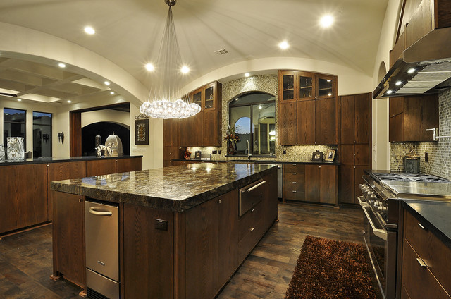 Pellet Ice Maker Kitchen Mediterranean with Bubble Lights Ceiling Lighting Curved Ceiling Dark Wood Cabinets