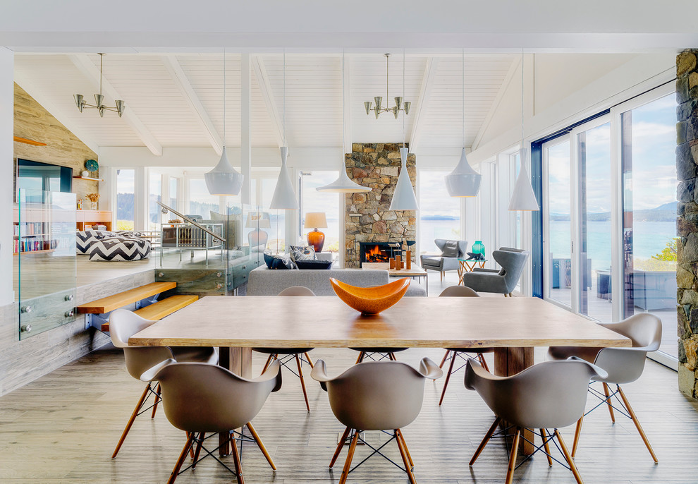 Pendulum Lights Dining Room Beach with Centerpiece Contemporary Furniture Dining Chairs Dining Table