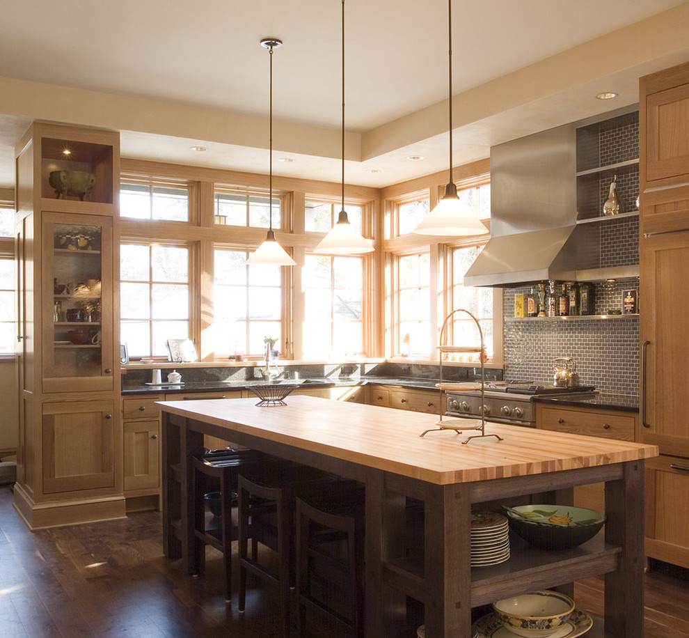 Pendulum Lights Kitchen Contemporary with Butcher Block Countertops Cabinet Front Refrigerator Ceiling