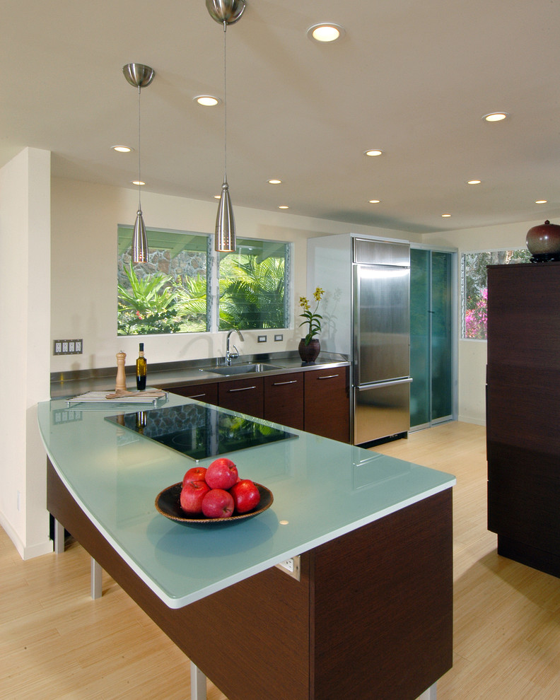 Pendulum Lights Kitchen Contemporary with Ceiling Lighting Dark Wood Cabinets Glass Front
