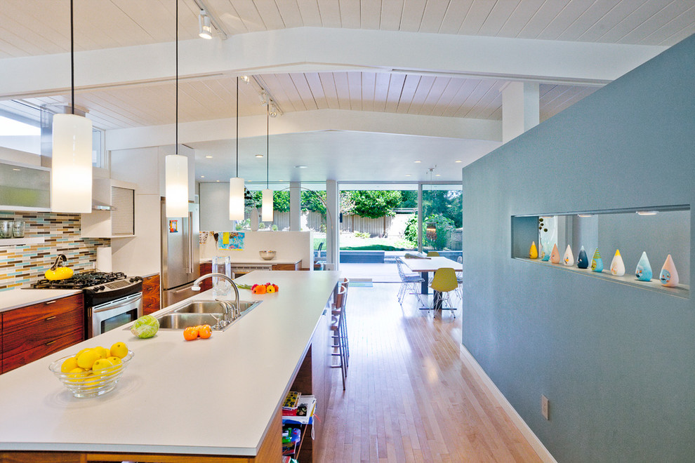 Pendulum Lights Kitchen Midcentury with Accent Wall Blue Wall Ceiling Lighting Exposed