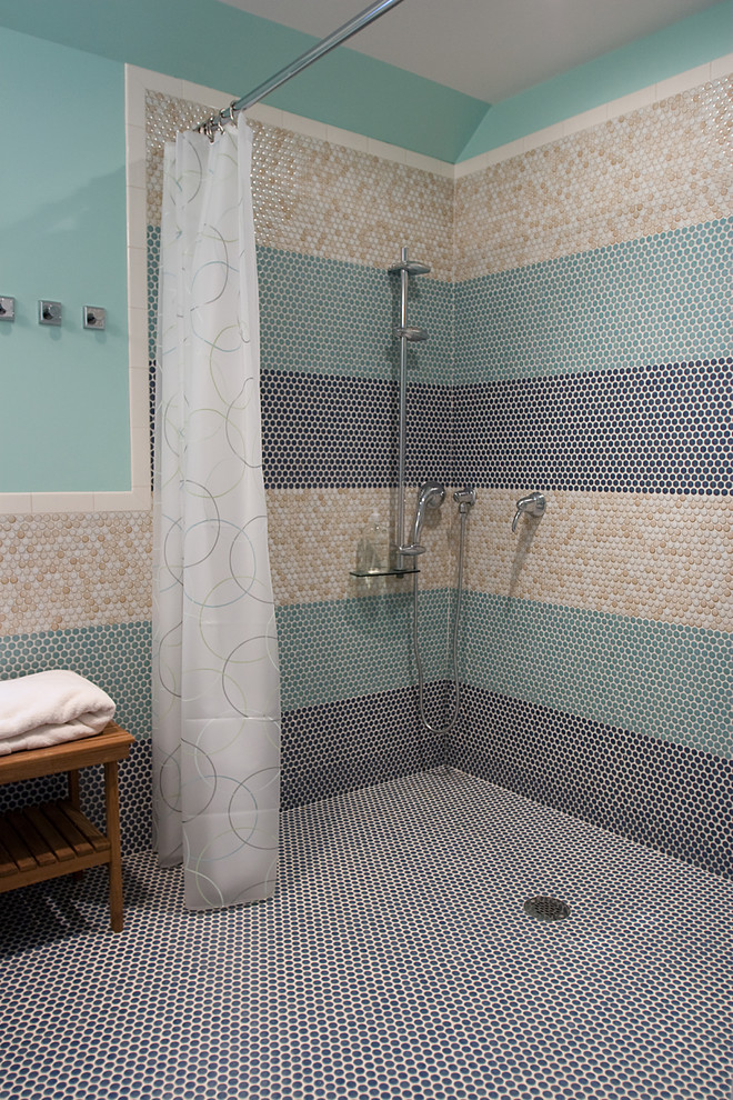 Penny Round Tile Bathroom Modern with Glass Tiles Horizontal Stripes Modern Shower Fixtures