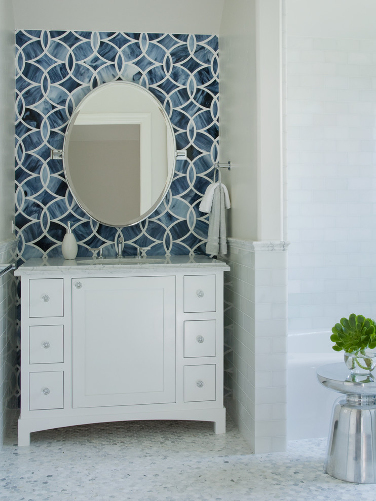 Penny Round Tile Powder Room Contemporary with Blue Chair Rail Hex Tile Hexagon Tile
