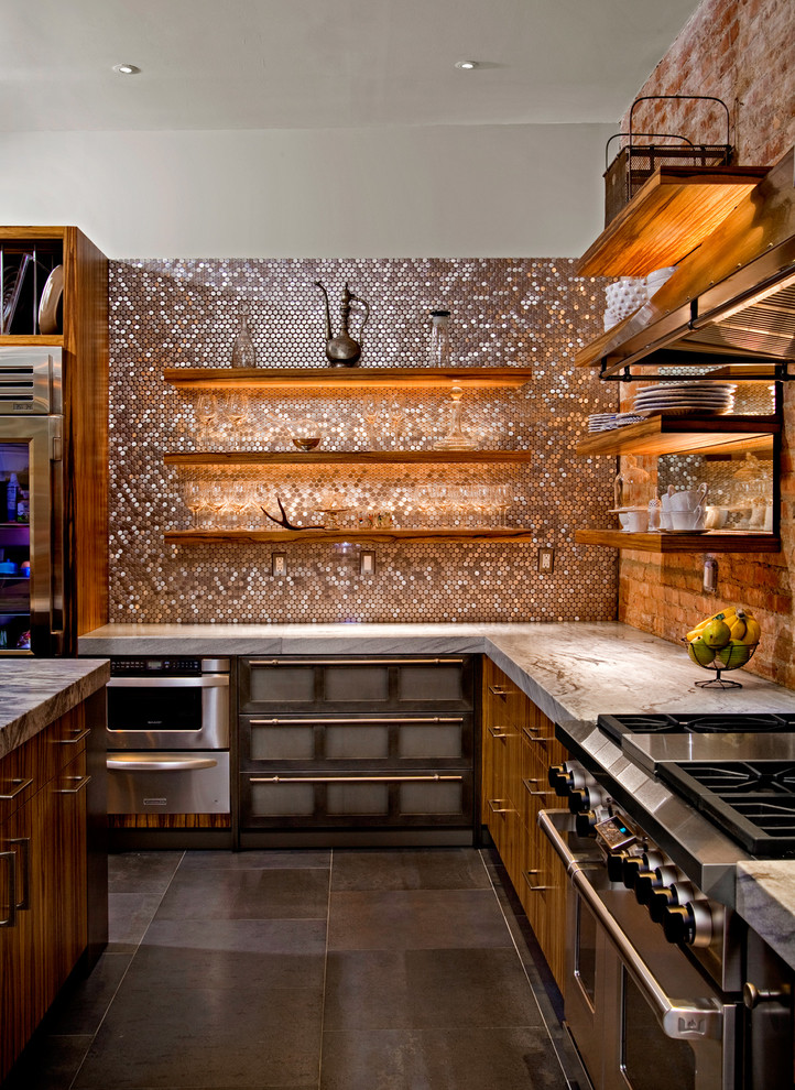 Penny Tiles Kitchen Contemporary with Accent Lighting Back Splash Bar Pulls Black