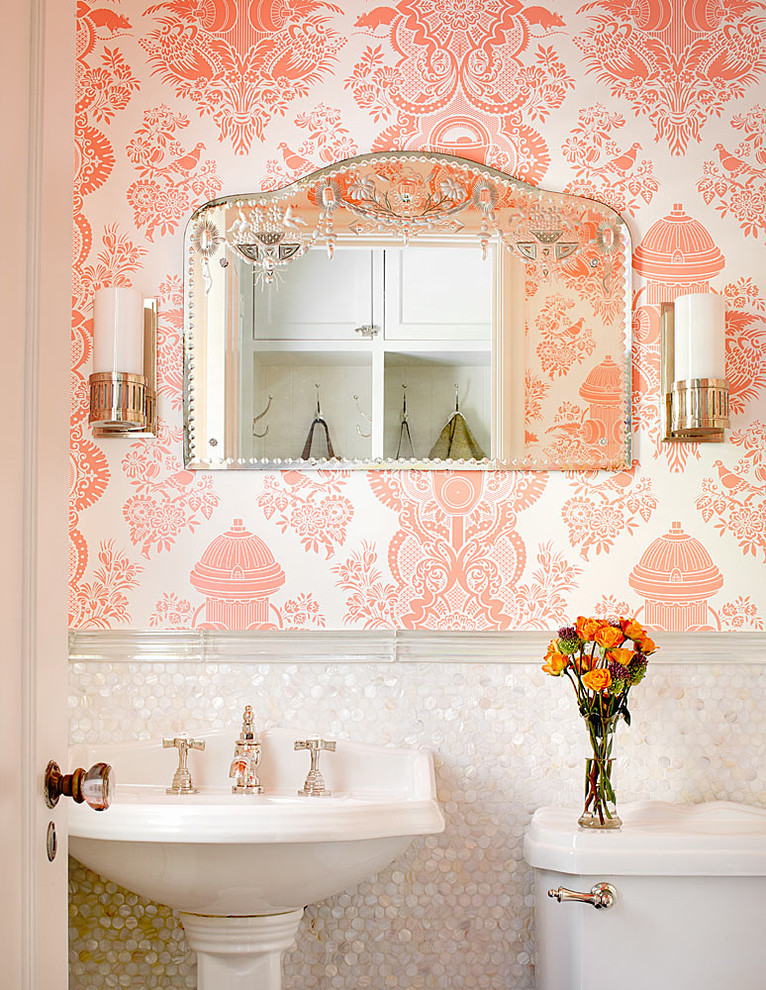 Penny Tiles Powder Room Traditional with Bathroom Lighting Etched Glass Feminine Glass Knob