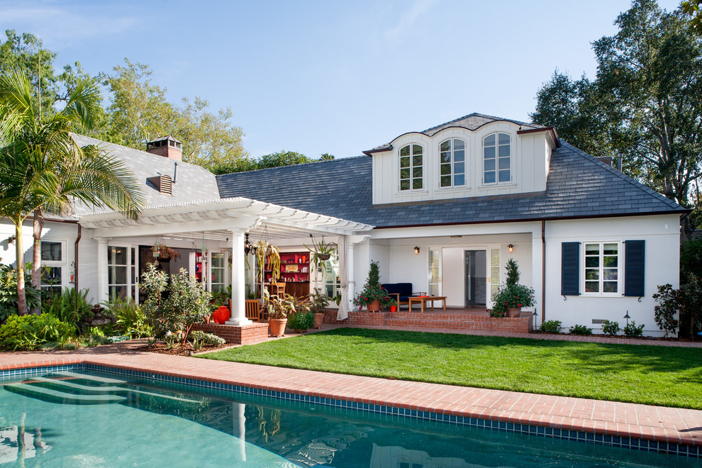 Pergola Attached to House Exterior Traditional with Arched Windows Back Yard Black Shutters Brick