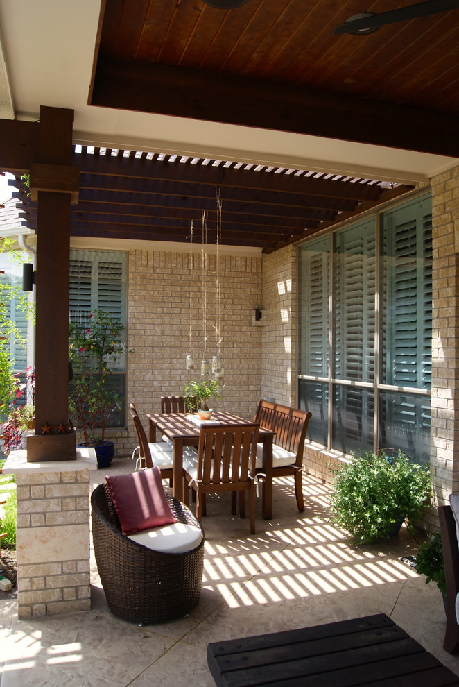 Pergola Attached to House Patio Transitional with Backyard Beams Chairs Columns Cushions Dining Table