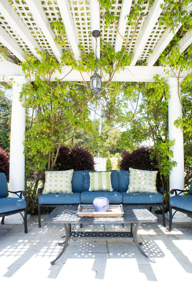 Pergola Covers Patio Traditional with Blue Outdoor Cushions Column Concrete Patio Green