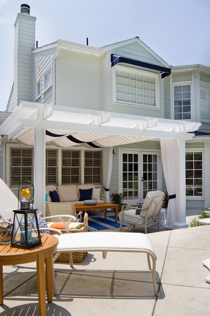 pergola with canopy Patio Beach with area rug awnings basket BBQ beach towels bench blue