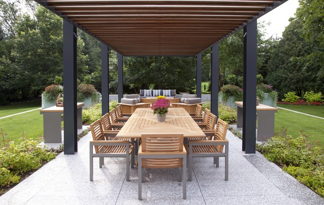 Pergola with Canopy Patio Contemporary with Container Plants Exposed Beams Geometric Grass Lawn Minimal Outdoor