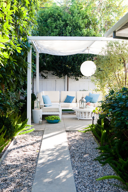 Pergola with Canopy Patio Traditional with Blue Concrete Path Fabric Awning Gravel Landscaping Pendant Light