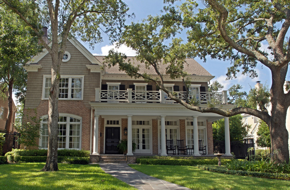 Permacast Columns Exterior Traditional with Americana Cape Cod Cedar Shake Siding Covered